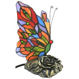 Tiffany Style Stained Glass Butterfly Accent Lamp Night Ligh