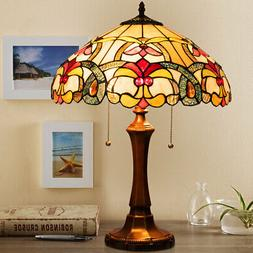 """Tiffany-Style Victorian 2-Light Table Lamp w/ 16"""" Stained Gl"""