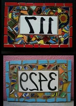 Tile Mosaic House Number Plaque, Address or Name Sign, Custo