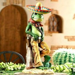 Toad Frog Bandito in Sombrero Hat Southwestern Figurine Stat