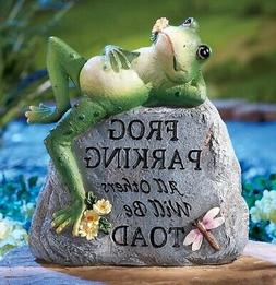 Toad Frog Parking Dragonfly Welcome Yard Statue Garden Stone