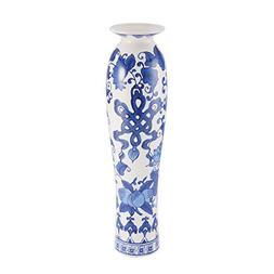Bombay Tobacco Leaf Ceramic Vase, 17.25-Inch, Blue