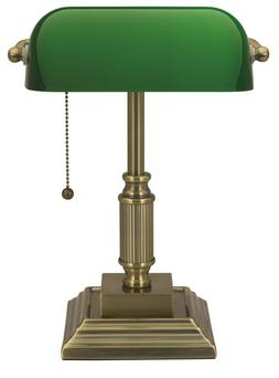 Traditional Style CFL Banker's Desk Lamp with Green Glass Sh