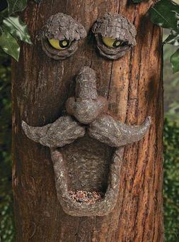 Tree Face Bird Feeder Garden Yard Decor Painted Eyes Glows i