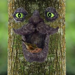 Tree Face Bird Feeder Hand-Painted Outdoor Old Man Wild Bird