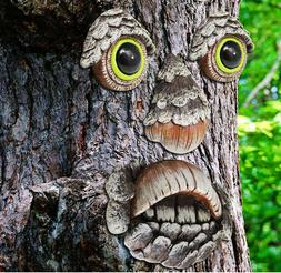Tree Face Yard Decor Old Man Faces Garden Fun Art Decoration