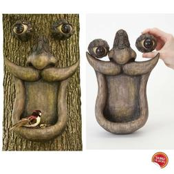 Tree Face Yard Decor Outdoor Faces People Sculpture Bird Fee
