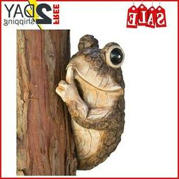 Tree Frog Sculpture Garden Decor Yard Home Hugger Outdoor Du