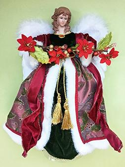 CHRISTMAS TREE TOPPERS - ANGEL TREE TOPPER WITH POINSETTIA G