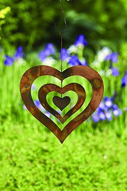 Happy Gardens Triple Heart Spinning Wind Chime, Metal Orname
