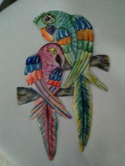 Tropical Parrot Hand Paint Tiki Decor Haitian Metal Wall Dec