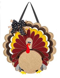 Evergreen Turkey Monogram Burlap Door Decor