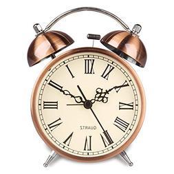 HENSE Twin Bell Alarm Clock Battery Power Night-light Loud A