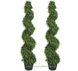TWO Pre-potted 4' Spiral Boxwood Artificial Topiary Trees. I