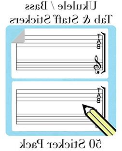 Ukulele Tab and Staff Stickers  Great for Bass, Ukelele and