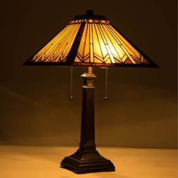 UL Listed 2-Light Tiffany Style Art Glass Geometry Table Lam
