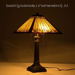 UL Listed Tiffany Style Table Lamp Art Glass Geometry Shape