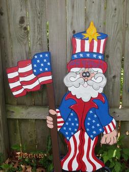 Uncle Sammy 4th of July Decor, Patriotic Wood Outdoor Yard A
