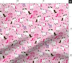 Unicorn By The Yard Home Decor Pink Girly Fabric Printed by