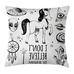 Ambesonne Unicorn Throw Pillow Cushion Cover, Mysticism Occu