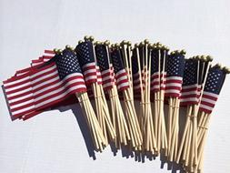 Lot of -100- 4x6 Inch US American Hand Held Stick Flags Safe