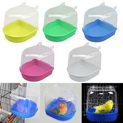 US Bird Water Bath Tub For Pet Bird Cage Hanging Bowl Parrot