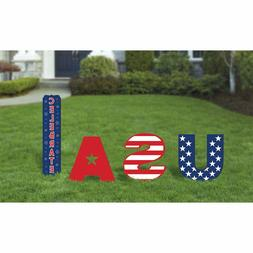 USA Yard Stakes Decorations 4th of July Selfie Sticks Photo