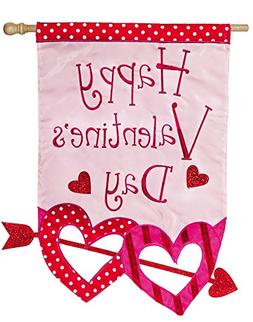 Evergreen Valentine's Day Glitter Arrow Applique House Flag,