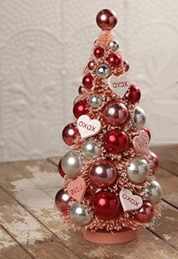 Bethany Lowe Valentine's Day Retro Bottle Brush Tree with Or
