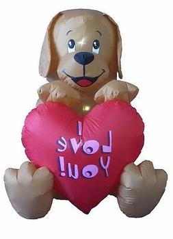 Valentine's Day Inflatable Puppy with Heart Indoor Outdoor Y