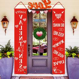 Valentine's Day Vertical Red Hanging Home Yard Wall Banner D