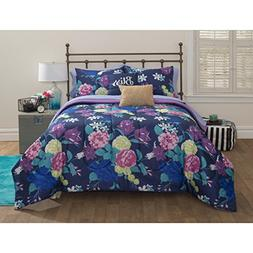 7 Piece Vibrant Rose Flowers Patterned Sheet Set Twin Size,