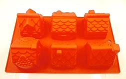 Holiday Time Village Cake Mold,silicone,6 Cavity