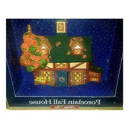 Holiday Time Village Collectibles Fall House Porcelain Light