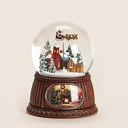 """5"""" Village With Sleigh Rotate Glitter Dome 100mm Plays Here"""