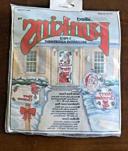 Vintage 3 Piece Weatherproof Santa Christmas Door, Bag & Mai