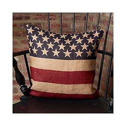 Vintage American Flag Burlap Throw Pillow Cover - 16 x 16 In