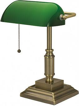 Vintage Bankers Desk Lamp W/ Green Glass Shade Student Antiq