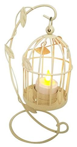 Vintage Style Birdcage With Climbing Vines Wire Candlestick