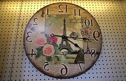 Vintage look Eiffel Tower Paris Wooden Wall Clock, 24 Inch D
