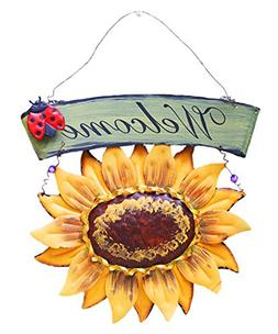 D-Foxes Vintage Metal Hanging Ladybird Sunflower Welcome Sig