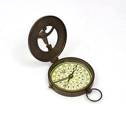 Vintage Nautical Sundial Compass Round Brass Finish Sundial