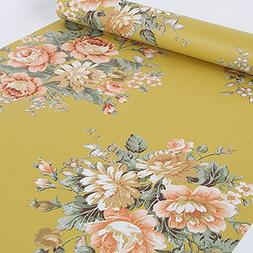 SimpleLife4U Vintage Peony Floral Contact Paper Dark Yellow