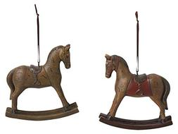 "Vintage Design Rocking Horse 5"" Resin Stone Christmas Orname"