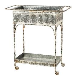 Cape Craftsmen Vintage White Washed Metal Two Tiered Cart wi