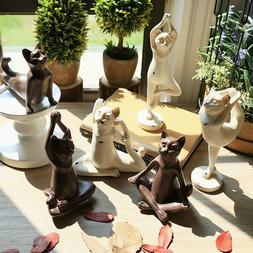 Vintage Yoga Cat Statue Resin Meditation Figurine Home Shelf