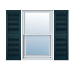 15 in. Vinyl Louvered Shutters in Midnight Blue - Set of 2 )