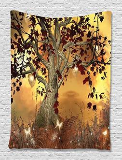 Wall Art Decor Old Twisted Tree Fairy Scene Butterflies Wing