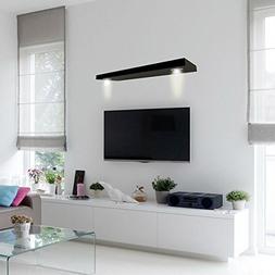 Wall Mounted Black Floating Decorative Shelf with 2-LED Ligh