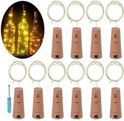 LRCXL Set of 10 Warm White Wine Bottle Cork Lights - 18inch/